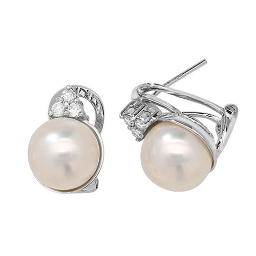 18K 0.21ct 6DIA 10mm Pearl 6.90g
