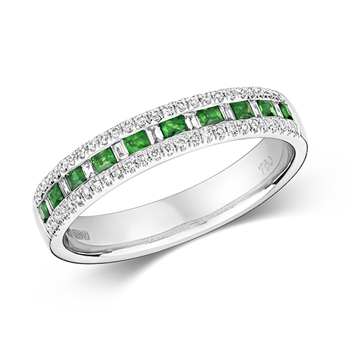18KT 9 Bagette 0.07ct 52 Diamonds 0.14ct 10 Emerald 0.22ct 3.00g