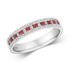 18KT 9 Bagette 0.07ct 52 Diamonds 0.14ct 10 Ruby 0.30ct 3.00g