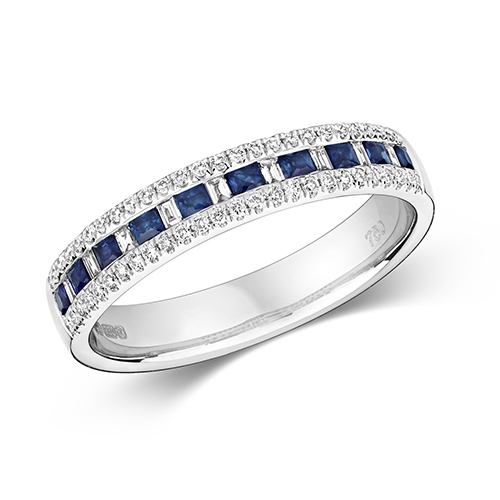 18KT 9 Bagette 0.07ct 52 Diamonds 0.14ct 10 Saphire 0.30ct 3.00g