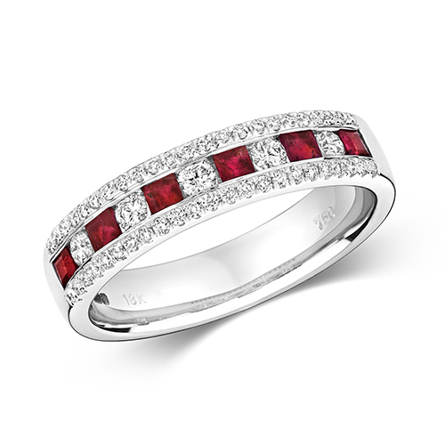 18KT 5 Round 0.17ct 46 Diamonds 0.17ct 6 Ruby 0.17ct 3.90g