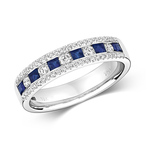 18KT 5 Round 0.17ct 46 Diamonds 0.17ct 6 Saphire 0.43ct 4.12g