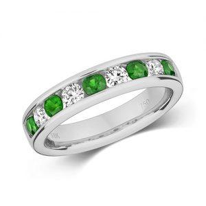 18KT 5 Round 0.37ct  6 Emerald 0.61ct 5.29g