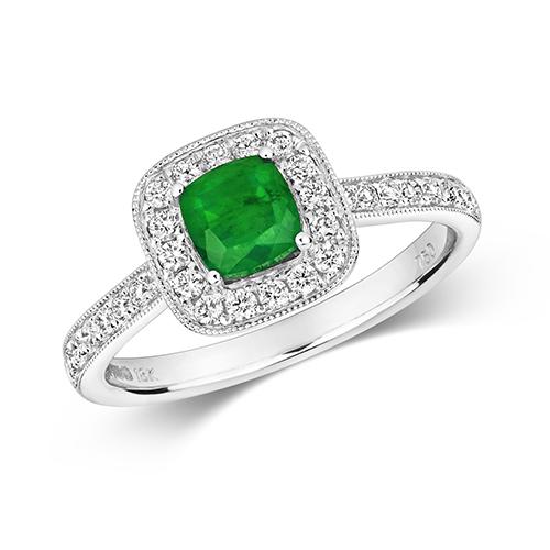 18KT 32 Diamonds 0.32ct 1 Emerald 0.60ct 2.50g