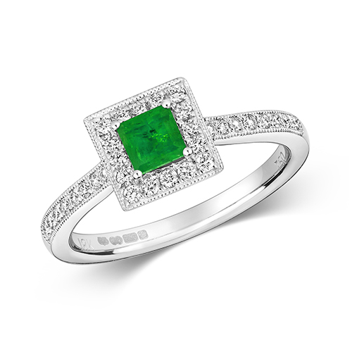 18KT 32 Diamonds 0.25ct 1 Emerald 0.36ct 3.00g
