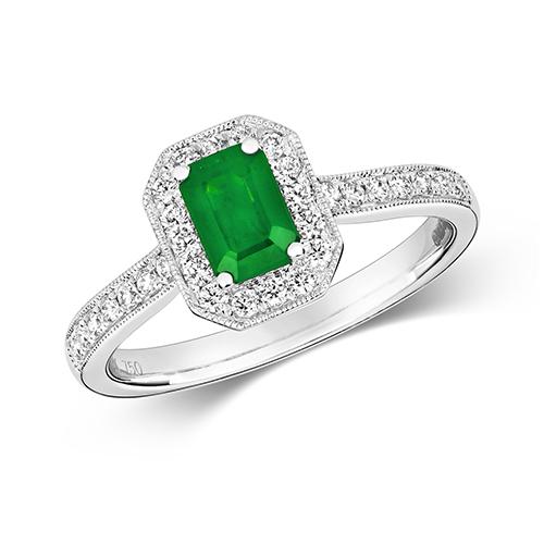 18KT 30 Diamonds 0.26ct 1 Emerald 0.66ct 3.20g