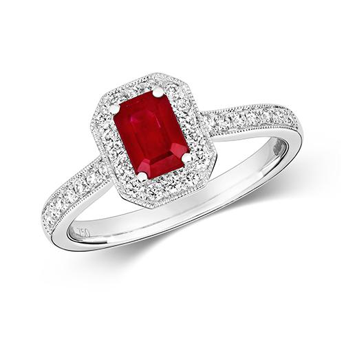18KT 30 Diamonds 0.26ct 1 Ruby 0.67ct 3.20g