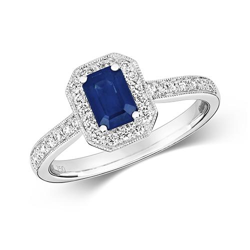 18KT 30 Diamonds 0.26ct 1 Saphire 0.70ct 3.20g