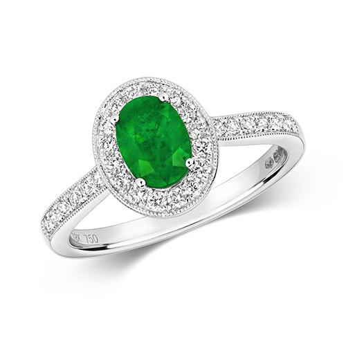 18KT 28 Diamonds 0.33ct 1 Emerald 0.70ct 3.55g