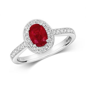 18KT 28 Diamonds 0.33ct 1 Ruby 1.00ct 3.58g