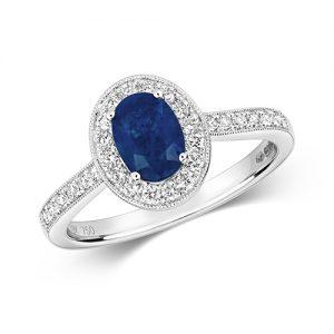 18KT 28 Diamonds 0.33ct 1 Sasphire 1.00ct 3.50g