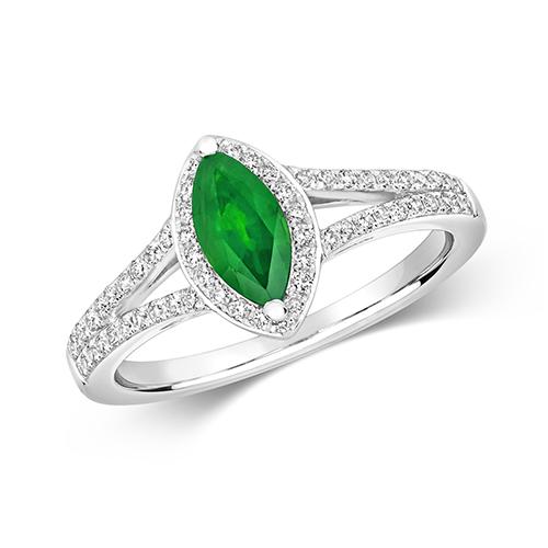 18KT 60 Diamonds 0.26ct 1 Emerald 0.50ct 3.30g