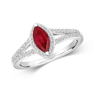 18KT 60 Diamonds 0.26ct 1 Ruby 0.76ct 3.30g