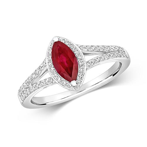 18KT 60 Diamonds 0.26ct 1 Ruby 0.76ct 3.30g