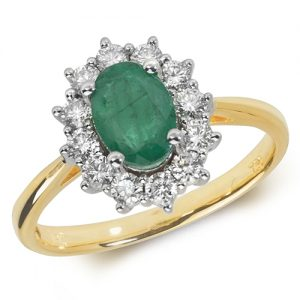 18KT 12 Diamonds 0.42ct 1 Emerald 0.78ct 3.19g