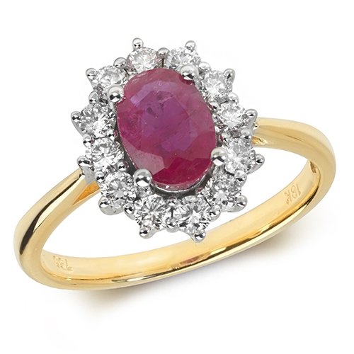 18KT 12 Diamonds 0.42ct 1 Ruby 1.03ct 3.10g