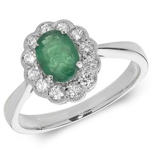 18KT 12 Diamonds 0.41ct 1 Emerald 0.73ct 3.33g