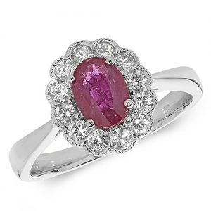 18KT 12 Diamonds 0.41ct 1 Ruby 1.00ct 3.40g
