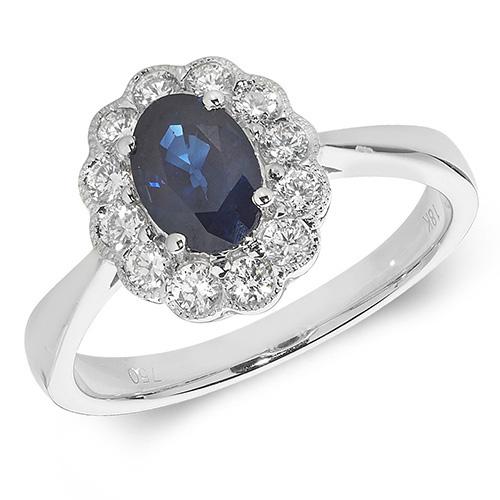 18KT 12 Diamonds 0.41ct 1 Saphire 1.10ct 3.40g
